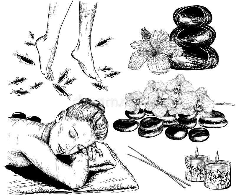 Skissa av skönhet och sjukvårduppsättning, brunnsortbehandling och fiskpedien vektor illustrationer