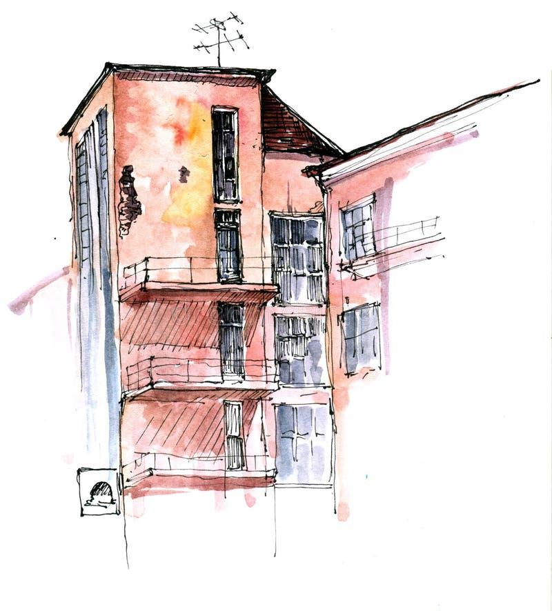 Skissa av stadsbyggnader vektor illustrationer