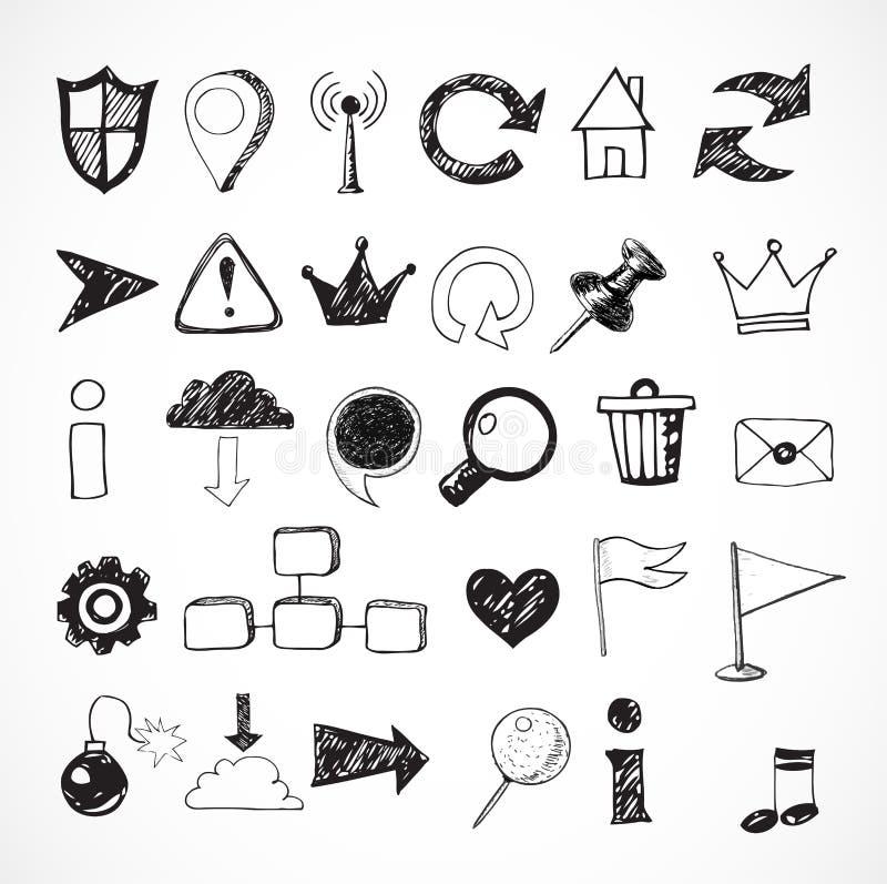 Skissa av symboler för rengöringsdukdesign royaltyfri illustrationer