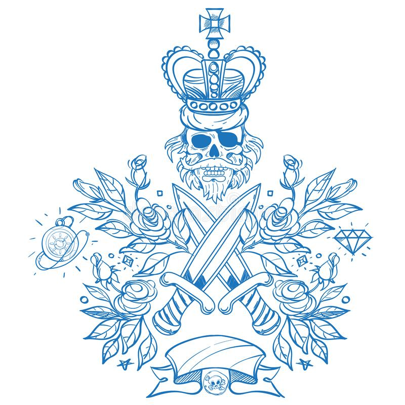 Skissa av tatuering med en skalle, dolkar och rosor Översiktsillustration för att färga med Jolly Roger Att dra från piratkopiera vektor illustrationer