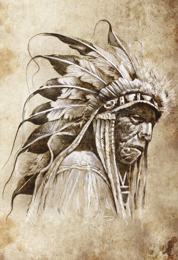 Skissa av tatueringkonst, indianindier vektor illustrationer