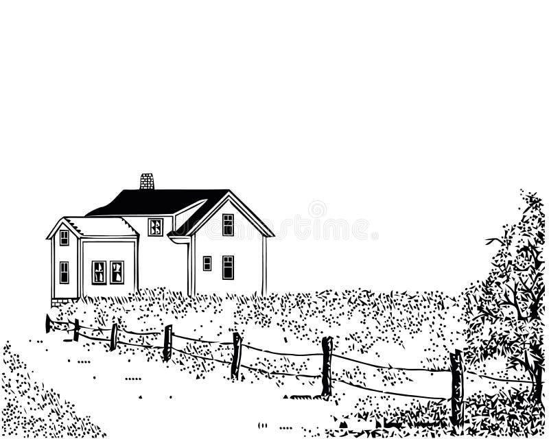 Skissa av tr?hus Vektorn isolerade illustrationen f?r design p? vit bakgrund stock illustrationer