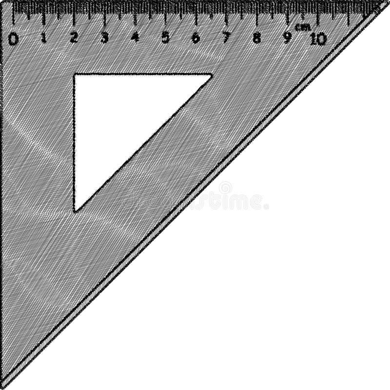 Skissa av triangellinjal arkivbild