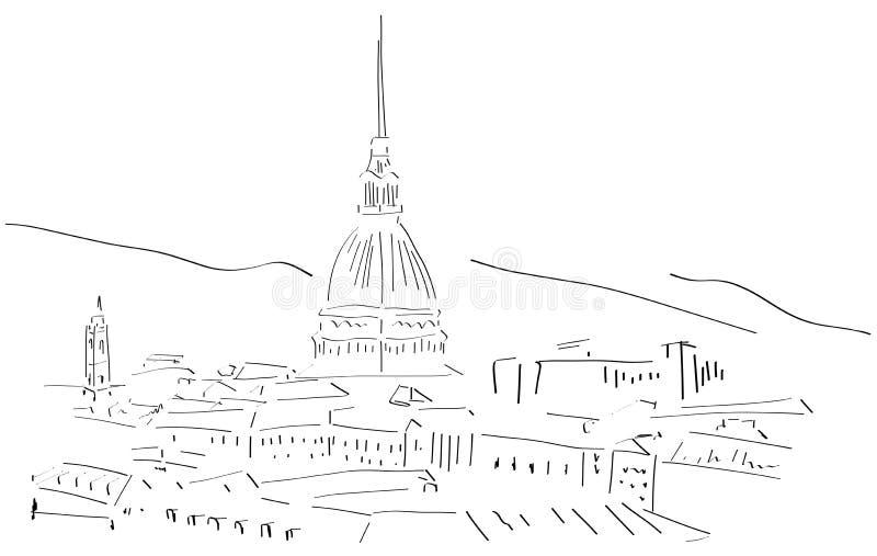 Skissa av Turin horisont stock illustrationer