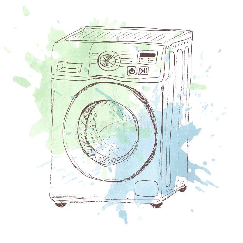 Skissa av tvagningmashine på vattenfärgfläck stock illustrationer