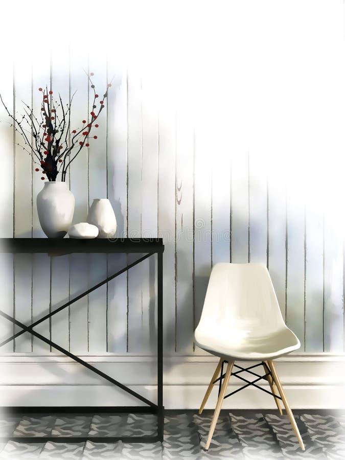 Skissa av vit stol och svärta tabellen mot väggen av vit vektor illustrationer