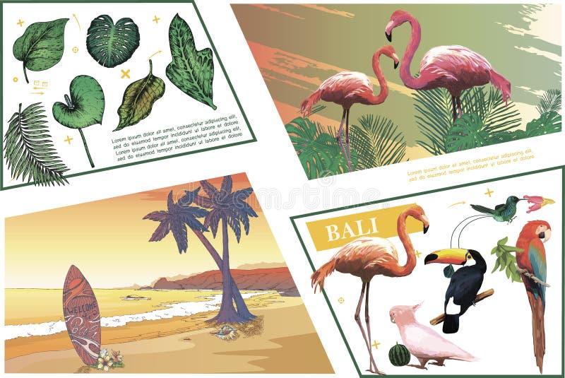 Skissa Bali färgrik sammansättning vektor illustrationer