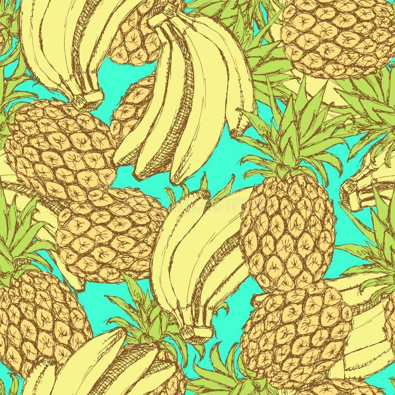 Skissa bananer och ananas i tappningstil royaltyfri illustrationer