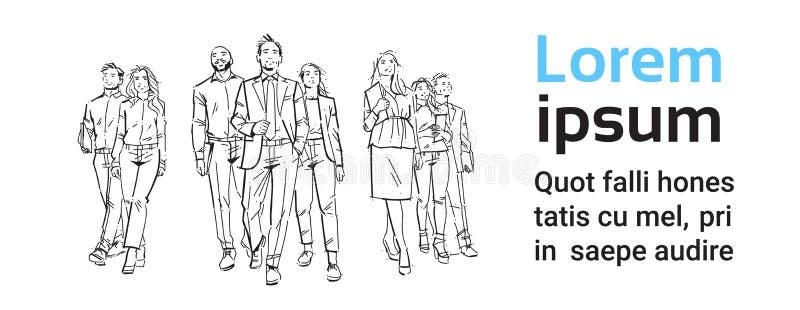 Skissa businesspeople team moment framåtriktat på vit bakgrund, ledare framme av laget av lyckade ledare, mycket vektor illustrationer