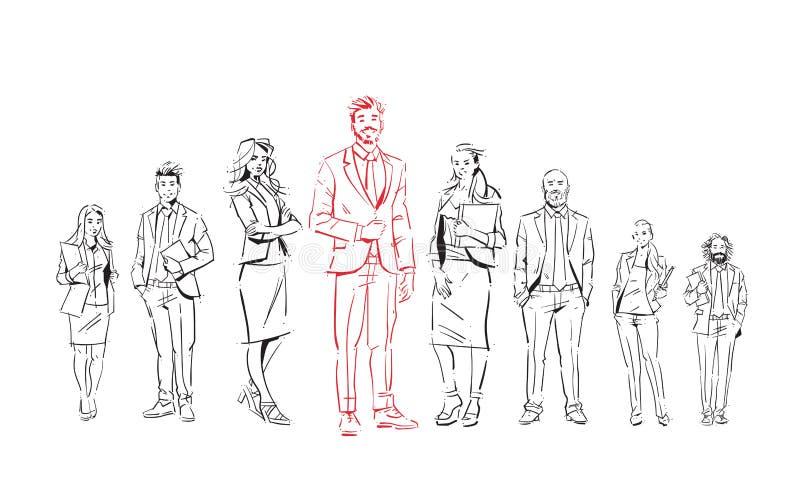 Skissa businesspeople team staget på vit bakgrund, ledare framme av laget av lyckade ledare, full längdgrupp vektor illustrationer