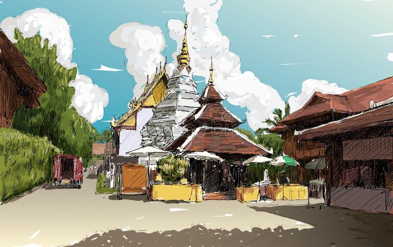 Skissa cityscape av Chiangmai, Thailand, den lokala templet Wat D för showen royaltyfri illustrationer