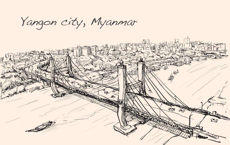 Skissa cityscape av Yangon, Myanmar showtopview Maha Bandual stock illustrationer