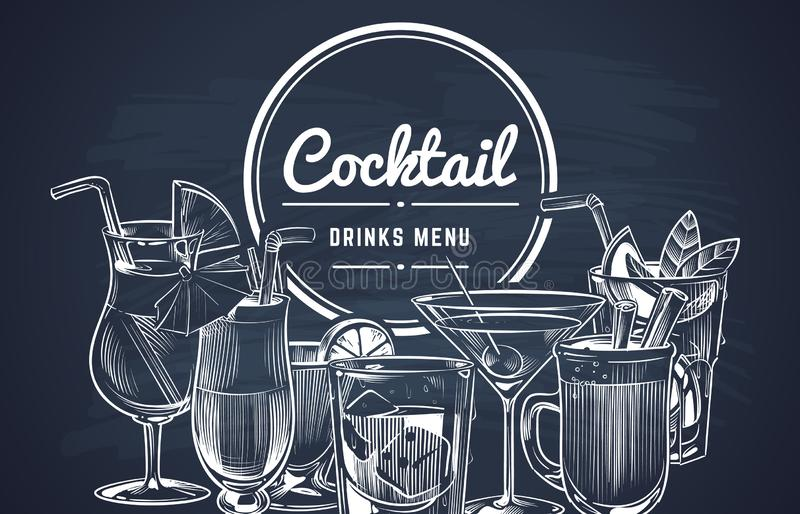 Skissa coctailbakgrund Dricker utdragna alkoholcoctailar för hand stångmenyn, kall dricka restaurangdryckuppsättning vektor vektor illustrationer