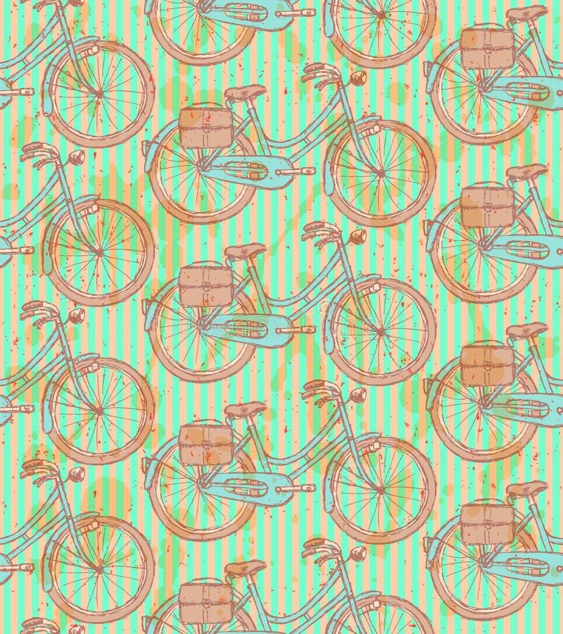 Skissa cykeln, sömlös modell för vektortappning stock illustrationer