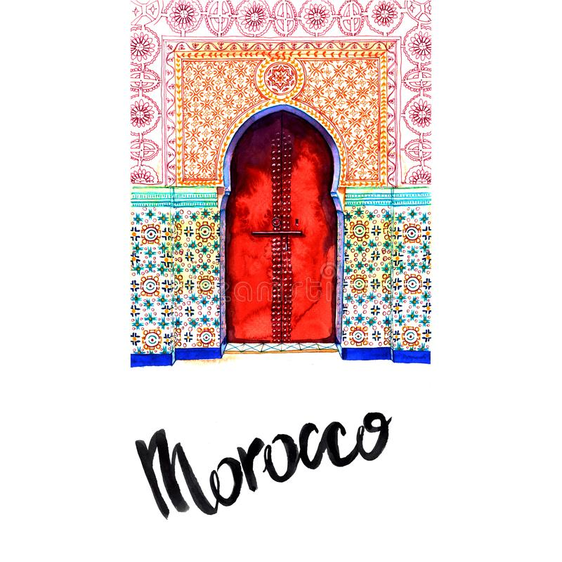 Skissa dörren i Marocko med vattenfärgen royaltyfri foto
