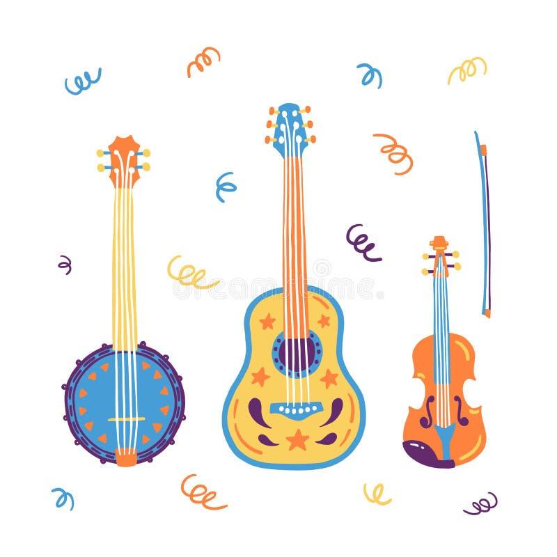 Skissa den akustiska gitarren för stil, banjon, fiolen, lurendrejeri Hand tecknad vektorillustration Beståndsdelar för Live musik vektor illustrationer
