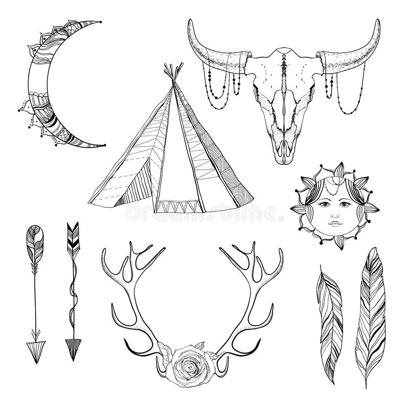 Skissa den Boho beståndsdeluppsättningen royaltyfri illustrationer