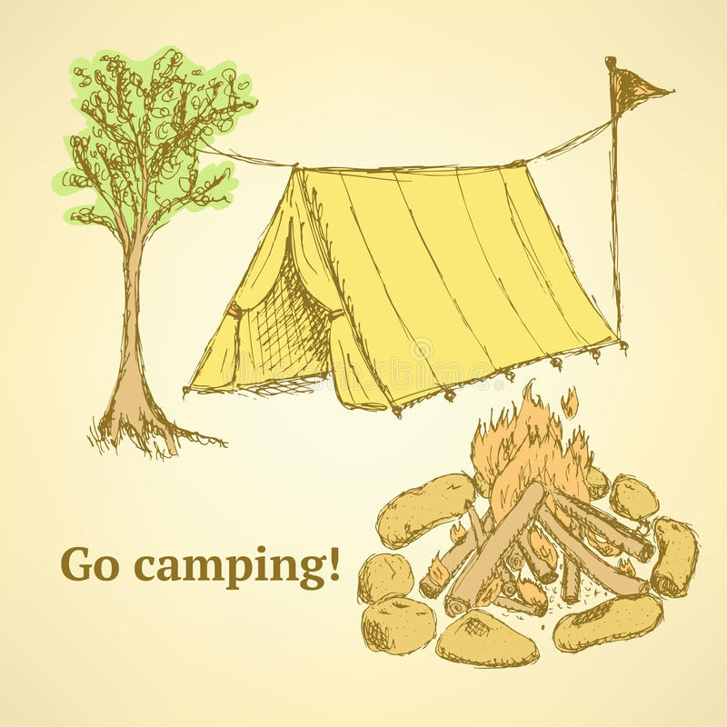 Skissa den campa uppsättningen i tappningstil stock illustrationer