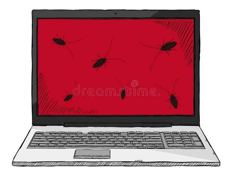 Skissa den färgrika illustrationen för stil av anteckningsboken som smittas av datorfel stock illustrationer
