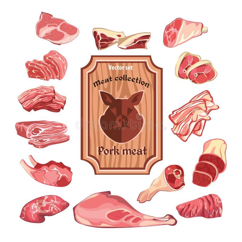 Skissa den färgrika köttbeståndsdelsamlingen stock illustrationer