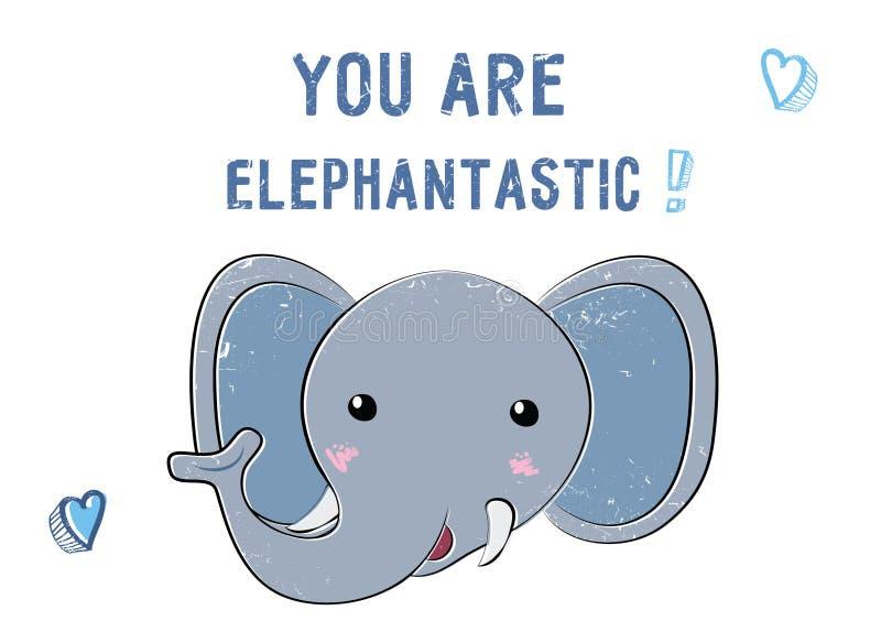 Skissa den gulliga elefanten Illustration för Sankt valentindag royaltyfri illustrationer