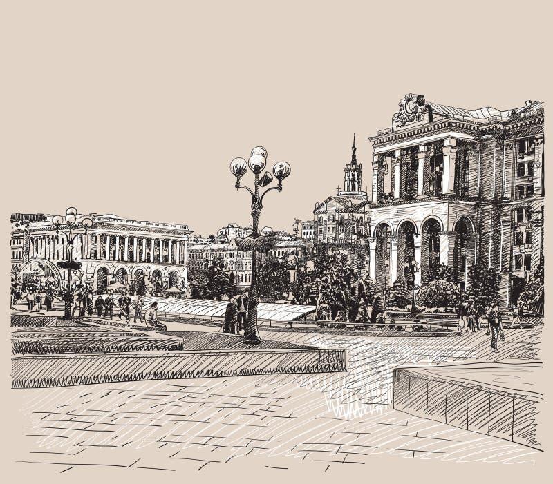Skissa den konstnärliga bilden för den digitala teckningen av Kiev royaltyfri illustrationer
