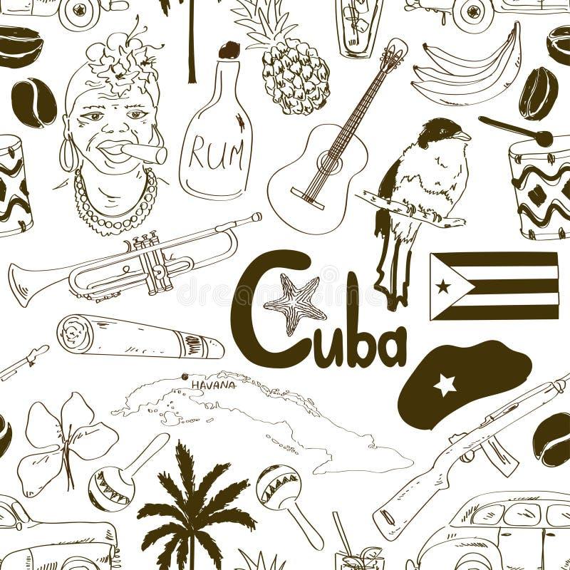 Skissa den kubanska sömlösa modellen royaltyfri illustrationer