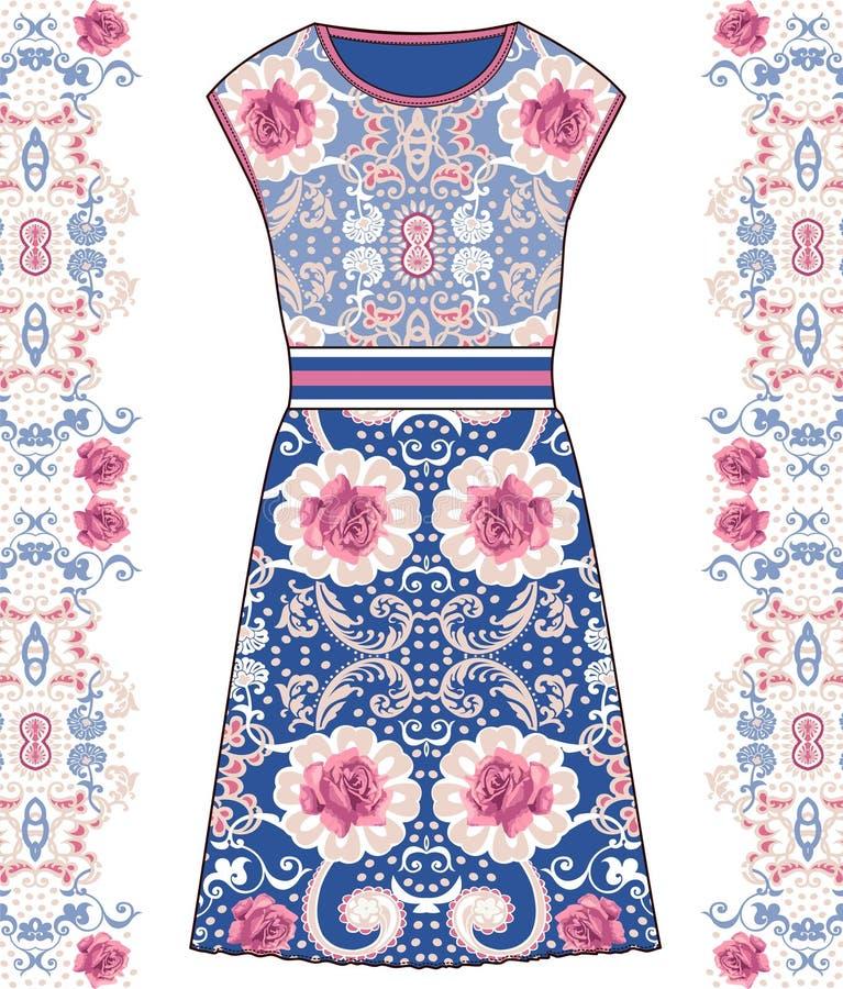 Skissa den kvinnliga klänningen för sommar med tygrosor för pastellfärgad färg och snöra åt Utforma sjaskig stil, provence, bohob stock illustrationer