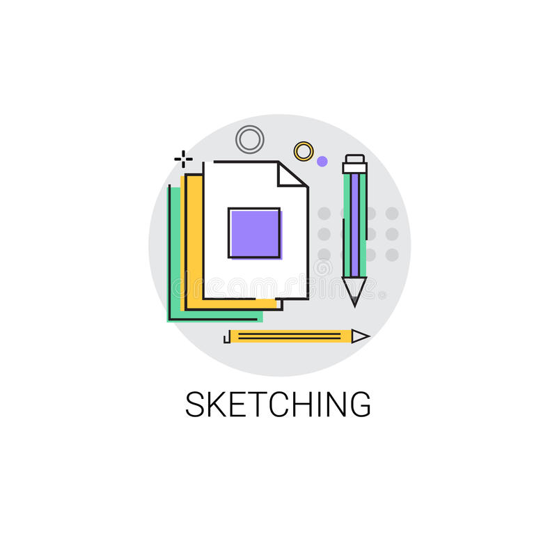 Skissa den Logo Application Design Graphic Development symbolen royaltyfri illustrationer