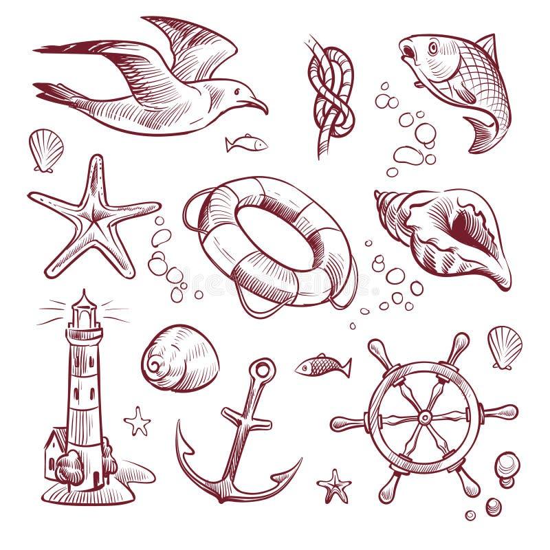 Skissa den marin- uppsättningen Fisk för hjul för styrning för ankare för sjöstjärna för seagull för fyr för havshavresa Dragen n vektor illustrationer