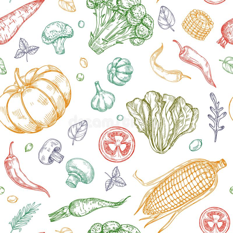 Skissa den sömlösa modellen för grönsaker Bakgrund för organisk för lantgård för grönsaksoppa vegetal vektor för mat royaltyfri illustrationer