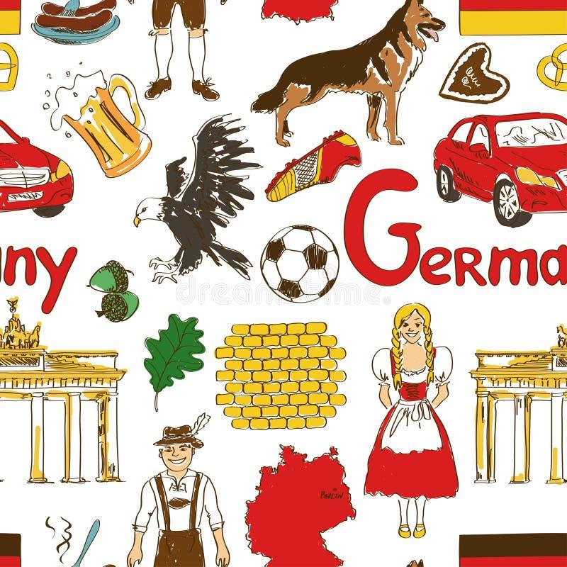 Skissa den sömlösa modellen för Tyskland vektor illustrationer