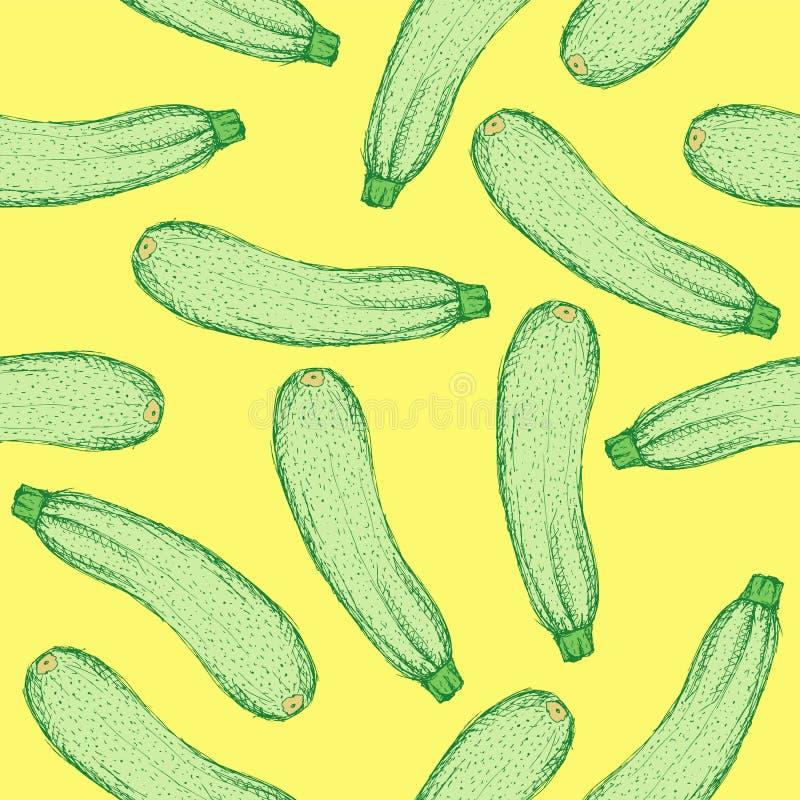 Skissa den smakliga zucchinin i tappningstil royaltyfri illustrationer