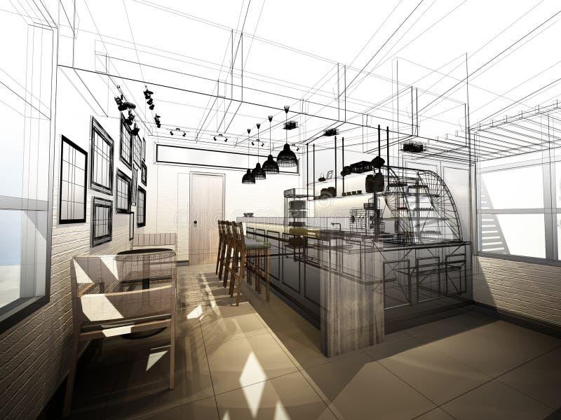 Skissa designen av coffee shop royaltyfria bilder