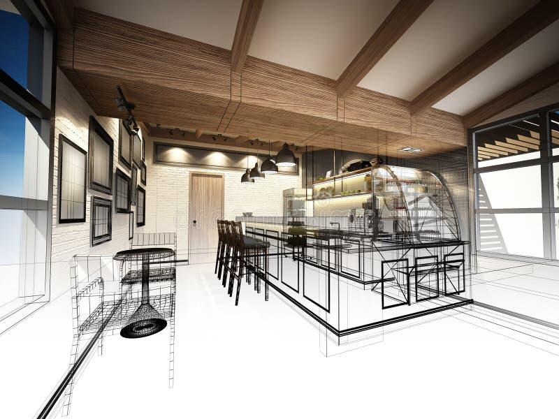 Skissa designen av coffee shop arkivfoto