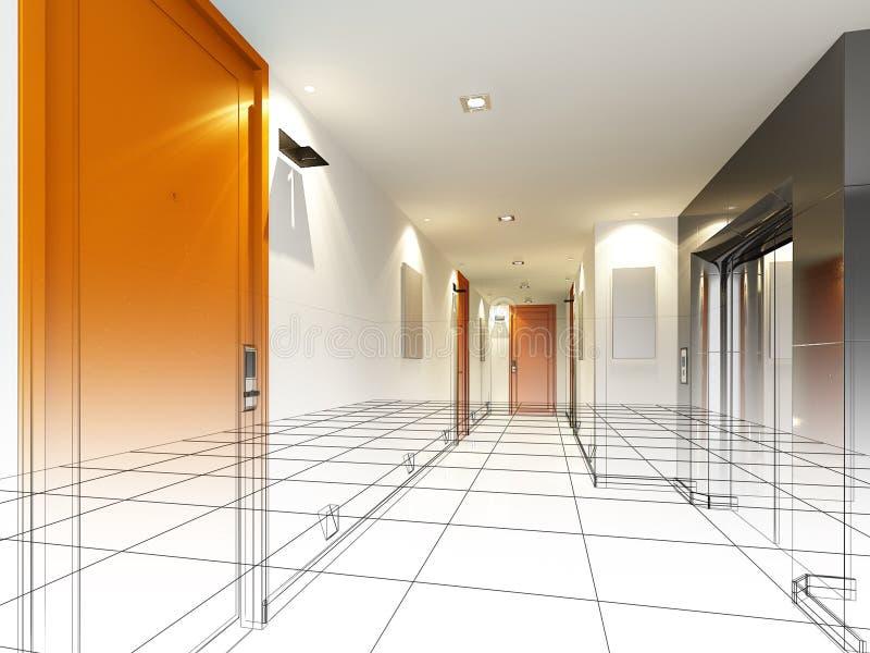 Skissa designen av den inre korridoren royaltyfri bild
