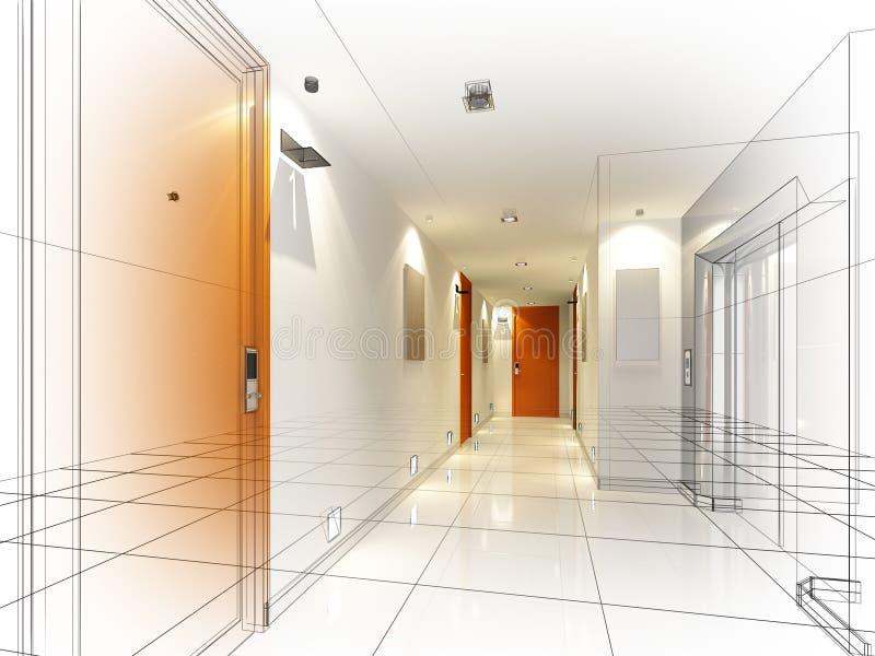 Skissa designen av den inre korridoren royaltyfri fotografi