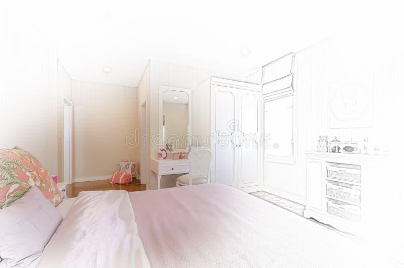 Skissa designen av den moderna sovruminre royaltyfria bilder
