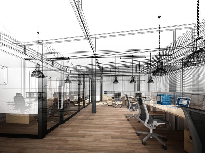 Skissa designen av det inre kontoret vektor illustrationer