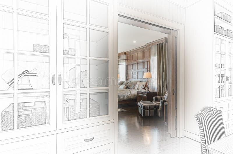 Skissa designen av det lyxiga sovrummet royaltyfria bilder
