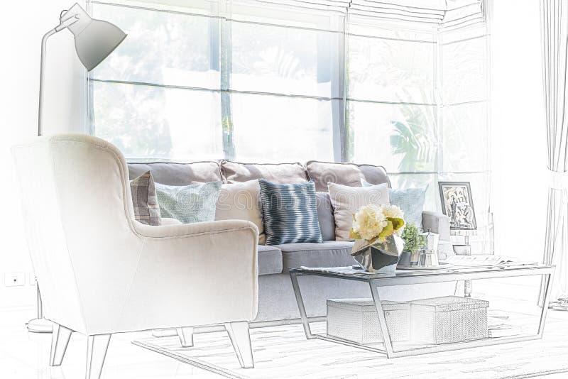 Skissa designen av modern vardagsrum med den moderna stol och soffan arkivbild