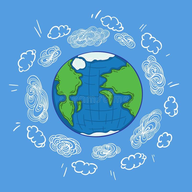 Skissa det färgrika begreppet för jordplanetatmosfär vektor illustrationer