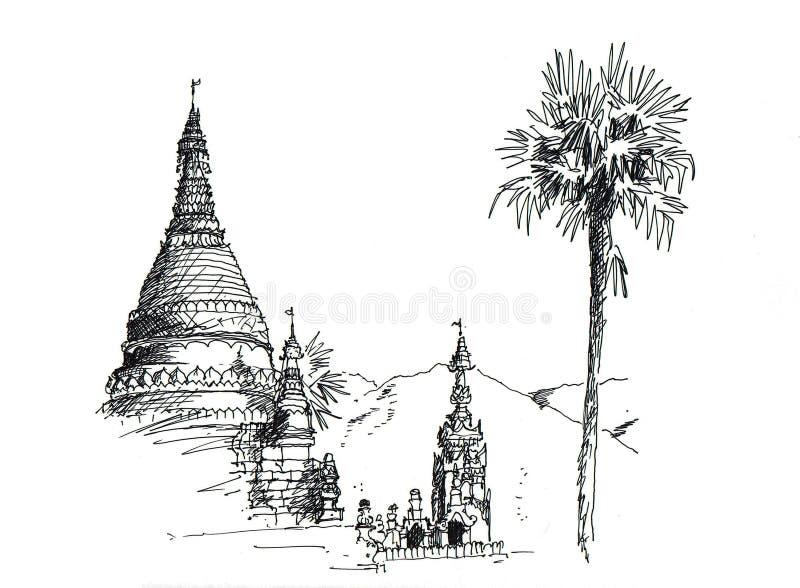 skissa det thai tempelet stock illustrationer