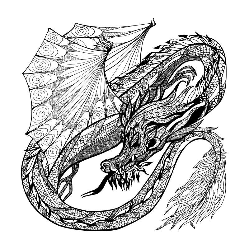 Skissa Dragon Illustration royaltyfri illustrationer