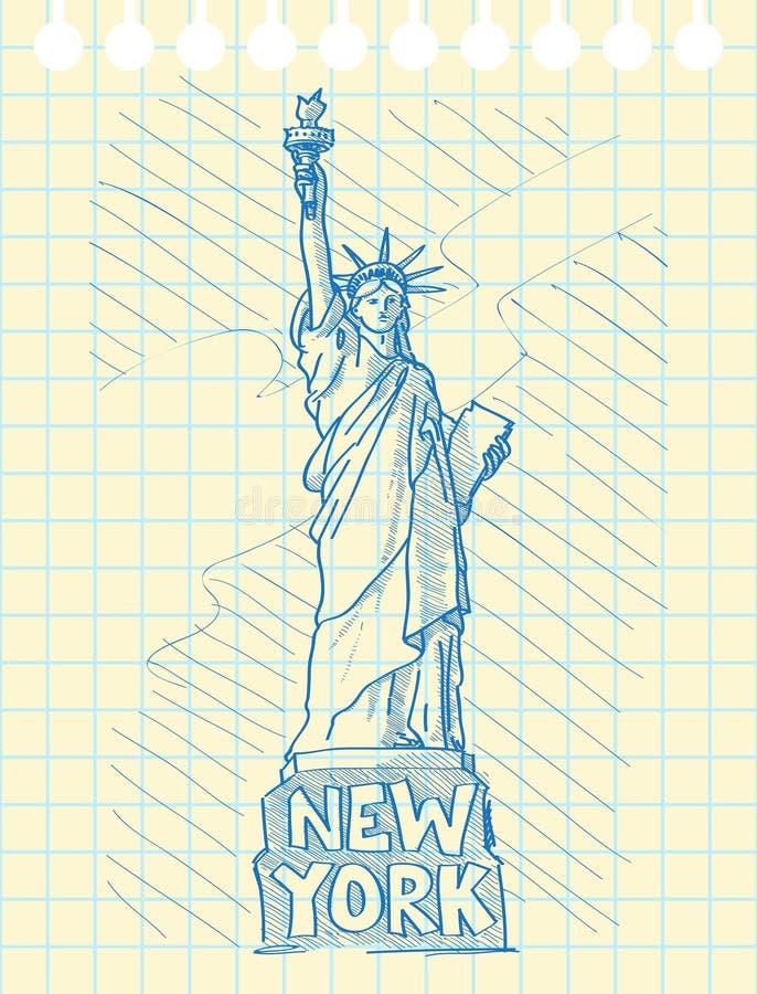 Skissa draw av statyn av frihet royaltyfri illustrationer