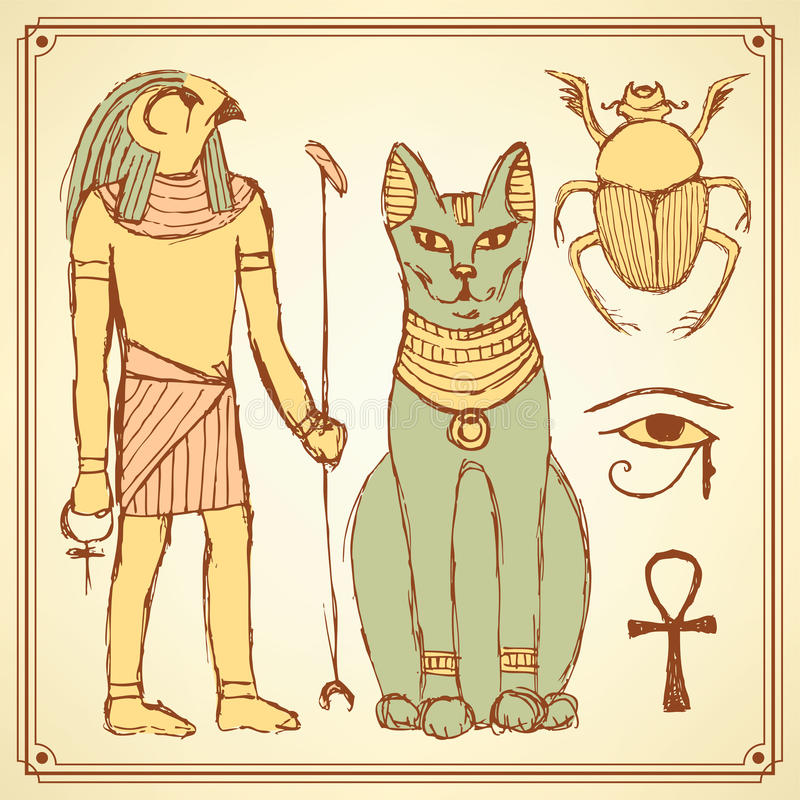 Skissa egyptiska symboler i tappningstil vektor illustrationer