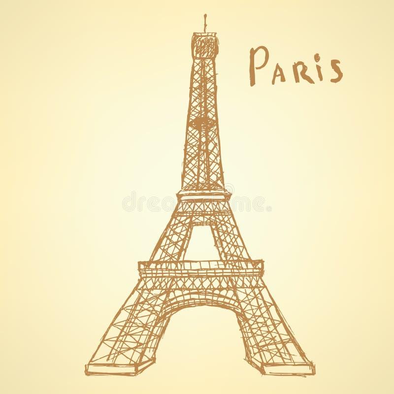 Skissa Eiffeltorn, vektorbakgrund eps 10 royaltyfri illustrationer