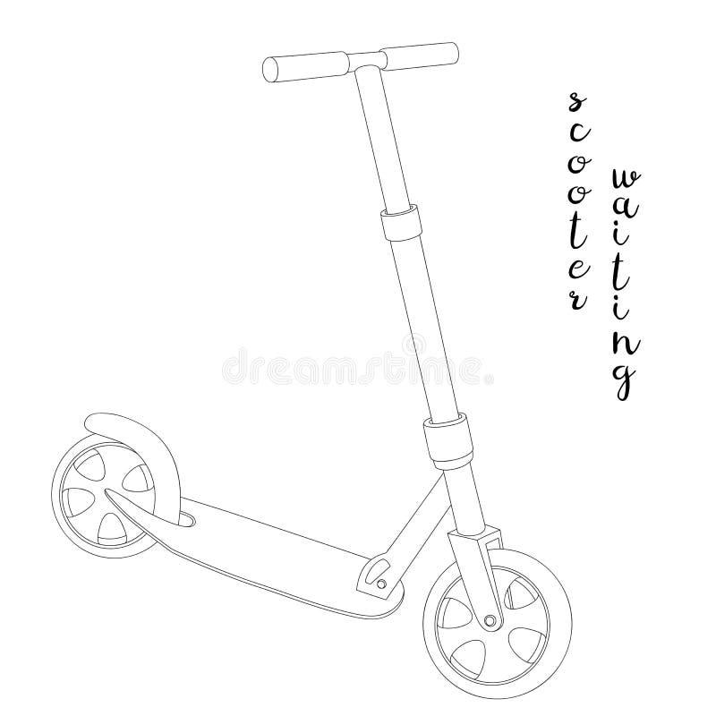 Skissa en sparkcykel stock illustrationer