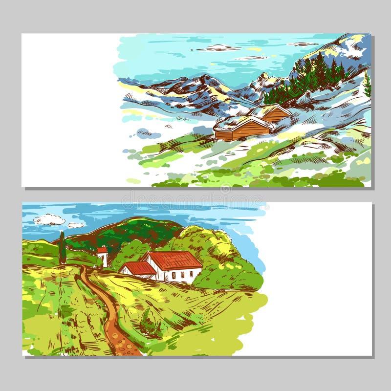Skissa färgrika bygdlandskap vektor illustrationer