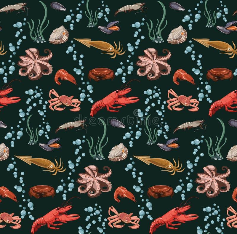 Skissa färgrika Marine Animals Seamless Pattern royaltyfri illustrationer